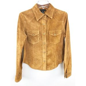 Sanctuary 100% Genuine Suede Shirt Tan Brown